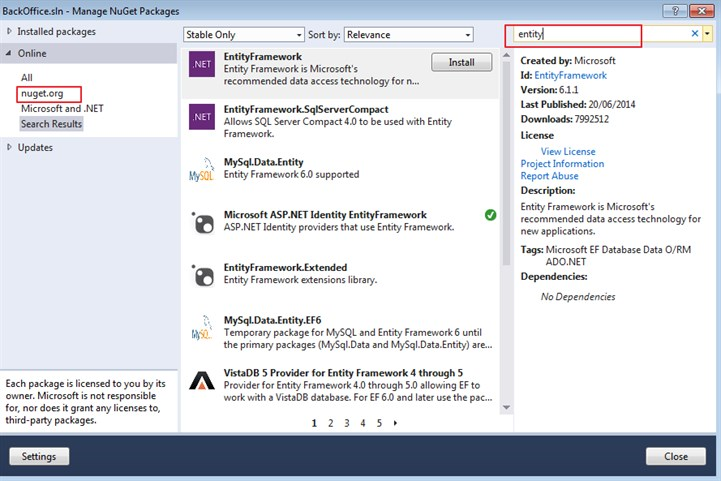 Nuget package manager (and package manager console)